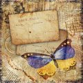 Grunge Textured Background With Butterfly Royalty Free Stock Image