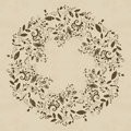 Grunge textured floral frame in doodle style