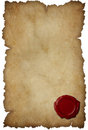 Grunge torn paper with wax seal isolated Stock Images