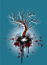Grunge tree blue and red nature illustration Stock Photography