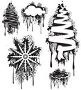 Grunge tree snowflake & cloud Royalty Free Stock Photography