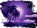 Grunge tropical island at night under starry sky background Royalty Free Stock Photography