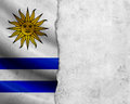 Grunge uruguay flag with paper frame Royalty Free Stock Photography