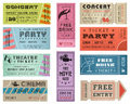 Grunge Vector Tickets Collection 3 Stock Images