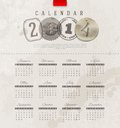 Grunge vintage calendar of template design with decorative lettering elements Royalty Free Stock Photography