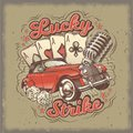 grunge vintage illustration, poster with four card aces, retro car and old microphone. Royalty Free Stock Photo