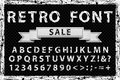 Grunge vintage ink black and white font. Old style letters