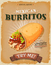 Grunge And Vintage Mexican Burritos Poster
