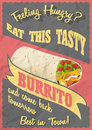 Grunge And Vintage Poster with Mexican Burritos on crumpled paper background.