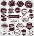Grunge Vintage Quality Labels Stock Photography