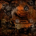 Grunge vintage steam locomotive time machine Royalty Free Stock Photography