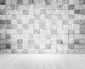 Grunge vintage style concrete tile wall and wooden floor texture Royalty Free Stock Photo