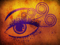 Grunge violet eye Stock Images