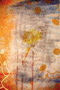 Grunge wall background with daisies Stock Images