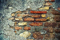 Grunge wall with brick background texture Royalty Free Stock Photos