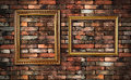 Grunge wall and two frames Royalty Free Stock Photo