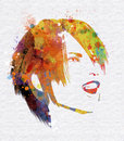 Grunge watercolour female face smiling with a effect Royalty Free Stock Photos