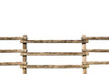 Grunge wooden fence at ranch isolated over white background Royalty Free Stock Photo