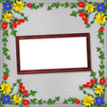 Grunge wooden frame  in scrapbooking style Royalty Free Stock Image