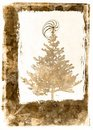 Grunge Xmass tree postcard - sepia Royalty Free Stock Image