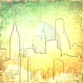 Grunge yellow abstract city skyline with bubble Royalty Free Stock Photo