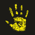 Grunge yellow handprint symbol conceptual vector illustration in eps Stock Photos