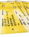 Grunge yellow train tickets isolated, paper,travel Stock Photo
