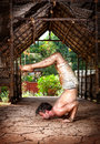 Grunge Yoga Ganda Bherundasana Stock Photos