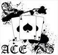 Grungy Ace of Spades Vector Illustration Stock Image