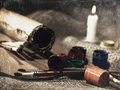 Grungy art still life with paint and brushes Royalty Free Stock Photography