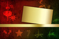 Grungy christmas illustration with blank paper a modern and abstract a golden border on a red green background Royalty Free Stock Image