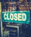 Grungy closed sign retail image of vintage in furniture boutique store Royalty Free Stock Image