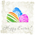 Grungy Easter Background with Decorated Eggs Royalty Free Stock Images