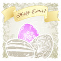 Grungy easter background with decorated eggs and floral elements Royalty Free Stock Photo