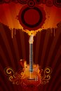 Grungy guitar illustration of with floral pattern on abstract background Royalty Free Stock Images