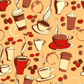 Grungy hand drawn ink coffee to go, cups, mugs, beans and letter Royalty Free Stock Photo