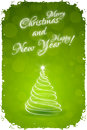 Grungy happy new year card with christmas tree Royalty Free Stock Image