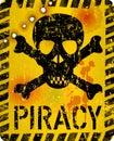 Grungy internet piracy warning sign, vector illustration Royalty Free Stock Photo