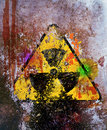 Grungy nuclear radiation warning sign Royalty Free Stock Photo