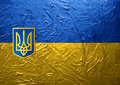 Grungy Painted Ukrainian Flag with Blazon