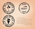 Grungy post stamps - vector Royalty Free Stock Photo