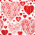 Grungy seamless valentine pattern with floral red hearts and wave translucent strips vector eps Stock Image