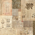Grungy vintage postcard ephemera collage backgroun Royalty Free Stock Photo