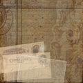 Grungy vintage postcard ephemera collage background Royalty Free Stock Photo