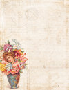 Grungy Vintage style background with flower fairy Royalty Free Stock Photo