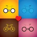 Grupo colorido do sumário de ícones da bicicleta ou do ciclo gráfico de vetor Imagem de Stock Royalty Free