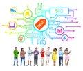 Grupo de personas con seo network Imágenes de archivo libres de regalías
