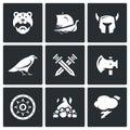 Grupo do vetor de viking icons guerreiro navio munição deus batalha arma proteção enterro tempo Fotografia de Stock