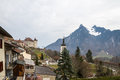 Gruyere castle in switzerland scenic view of with alps background Royalty Free Stock Photo