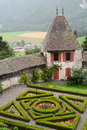 Gruyeres castle gardens and ramparts switzerland july located in the medieval town of built between it is Stock Images